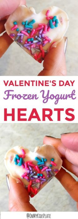 Two hearts made of frozen yogurt and sprinkles for a snack n the shape of a heart