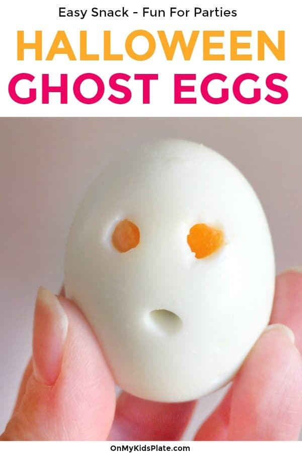 A ghost hardboiled egg with text title overlay