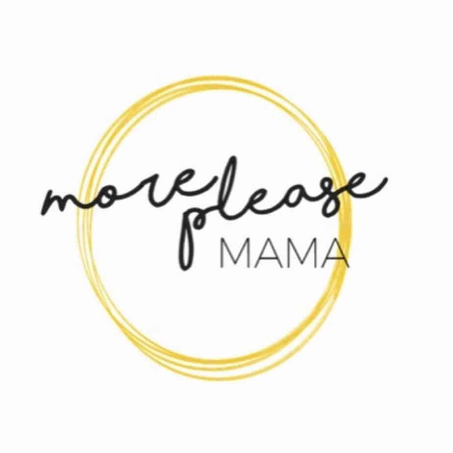 A yellow cicle drawn over and over again witht he words more please mama in the middle, a logo for the blog More Please Mama.
