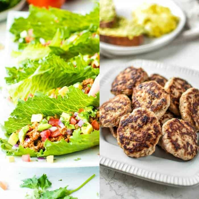 A plate of lettuce wraps with turkey next to a second image of a plat of sausage patties.