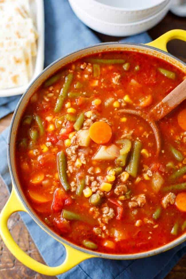 A bowl of red soup with turkey, carrots, potatoes, green beans and other vegetables.