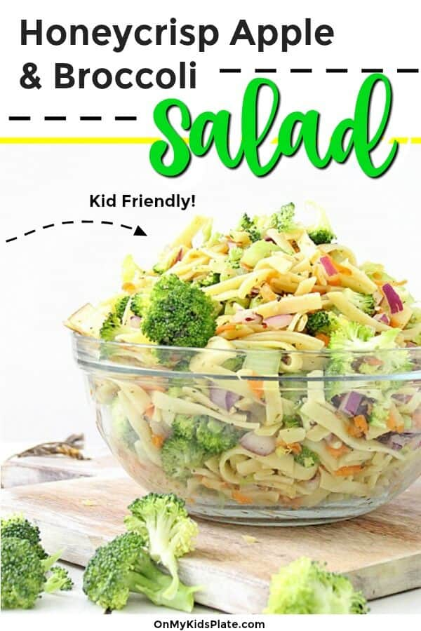 A bowl of broccoli pasta salad from the side with text title overlay