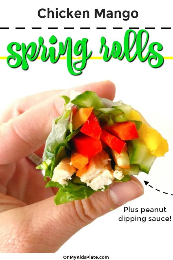 The inside of a spring roll being held by a hand with tet title overlay