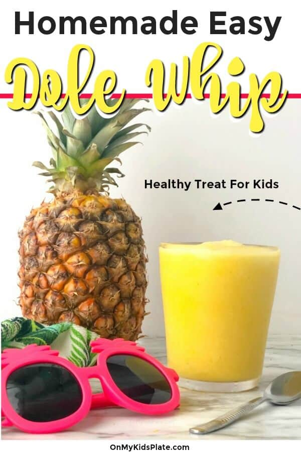 A glass of smoothie next to a pineapple and kid\'s pineapple sunglasses with text title overlay.