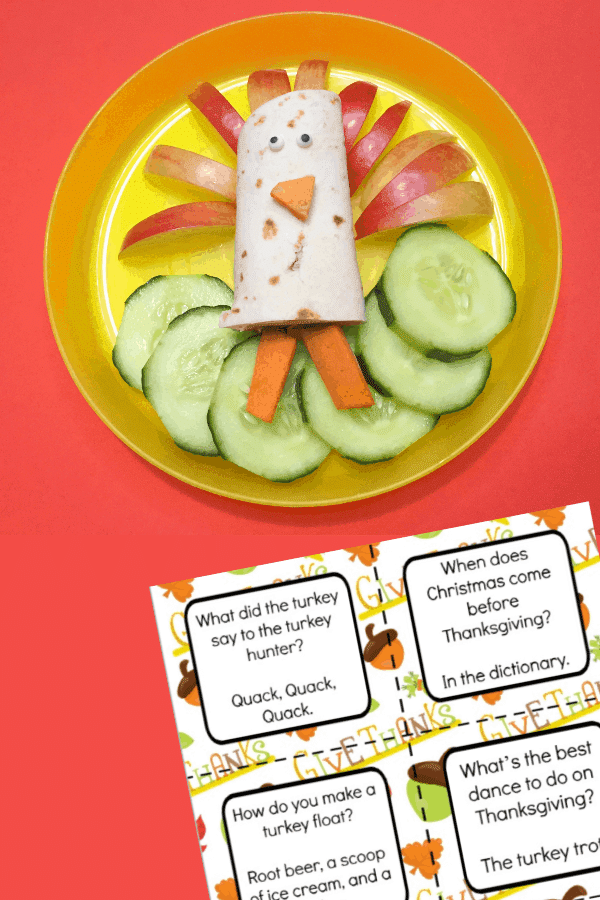 A wrap made to look like a turkey with apple and carrot sitting on cucumber on a plate next to a printable of thanksgiving lunchbox jokes