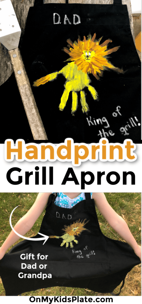 A child wearing an apron and a close up of the apron with a handprint on it with text title overlay