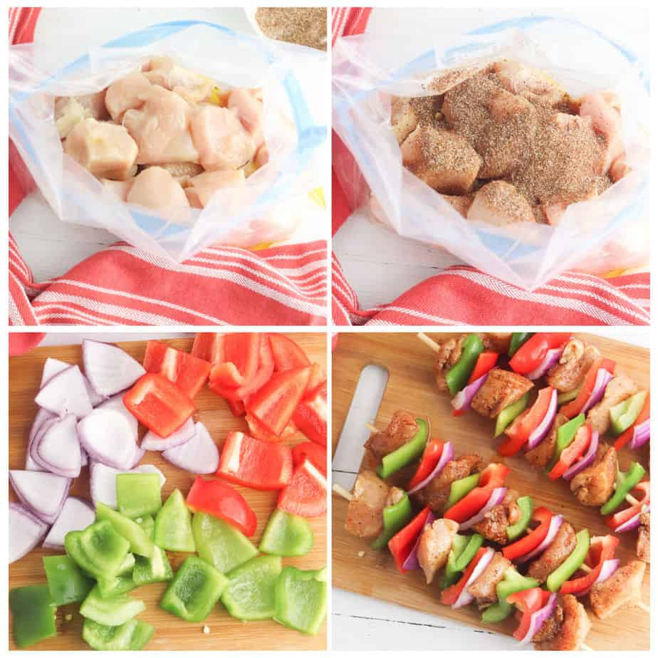 step by step images of chicken being marinated and placed on wooden skewers with vegetables