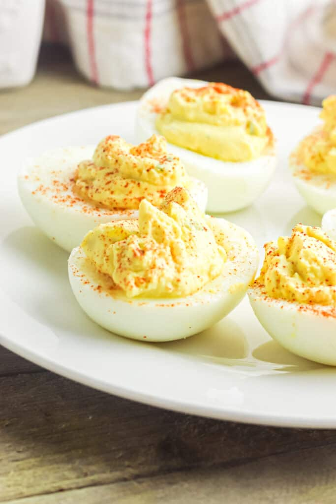 Side view of no mayo deviled eggs