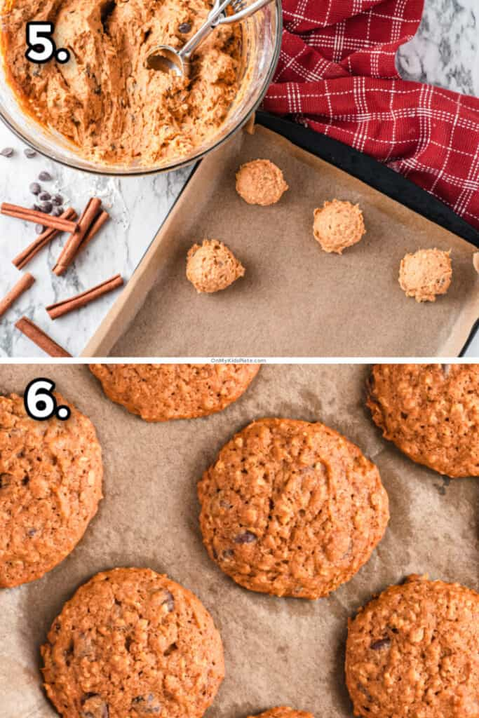 Two pictures, one portioning out pumpkin cookie dough, and the second baked pumpkin oatmeal cookies on the pan.