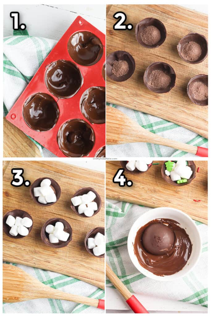 Step by step images of how to make the chocolate spheres, fill them and seal them to make hot chocolate bombs.