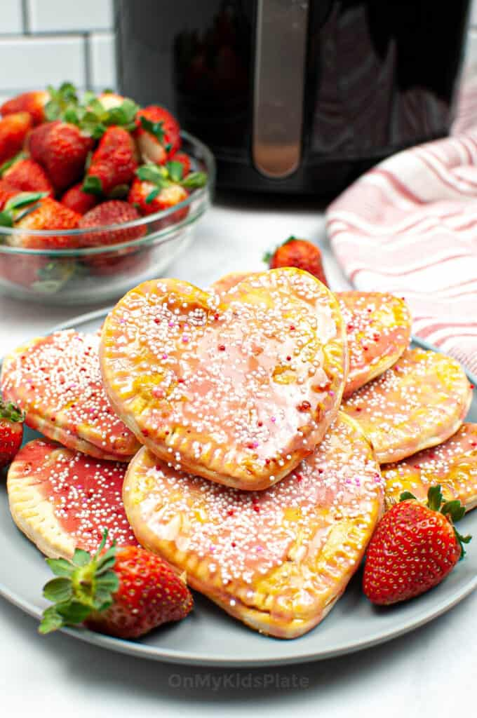 A platter of heart shaped glazed pastries