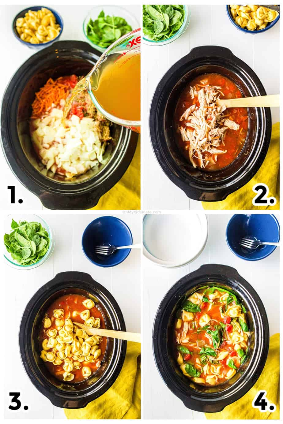 Step by step images adding broth, shredding chicken and adding tortellini and spinach to the crock pot at the right times
