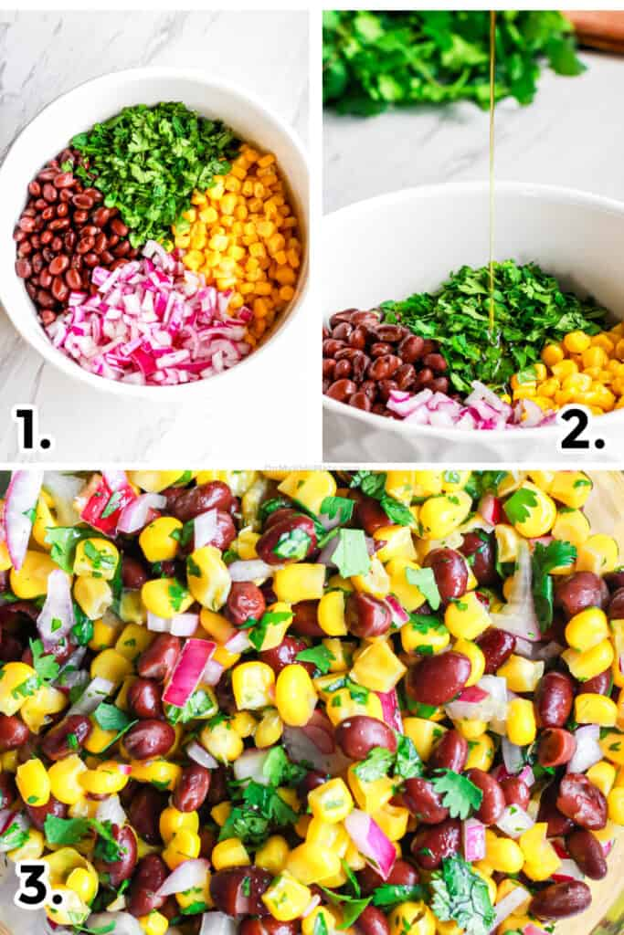 adding ingredients and dressing to make black bean and corn salsa, and a close up on the salsa