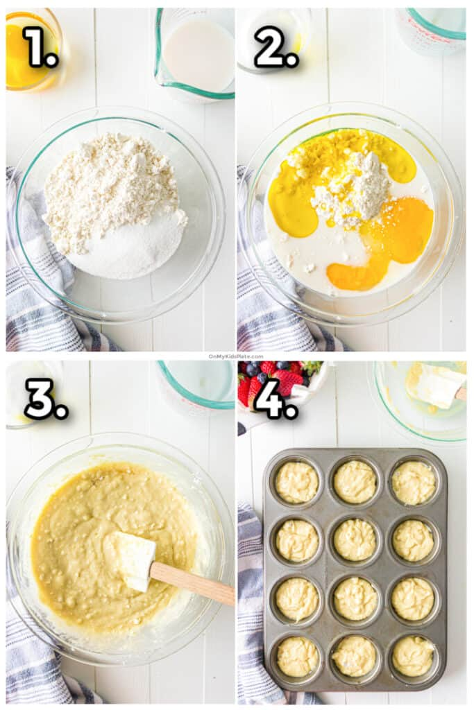 Step by step images mixing the dry pancake mix and wet ingredients into a batter then portioning into muffin tins.