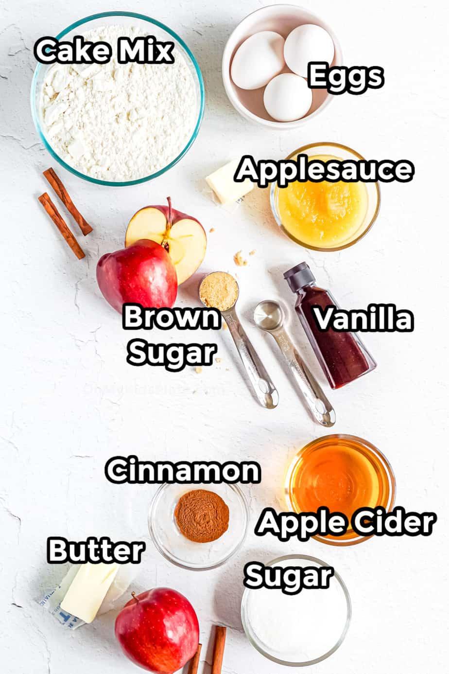 Ingredients for apple cider doughnut cake labeled.
