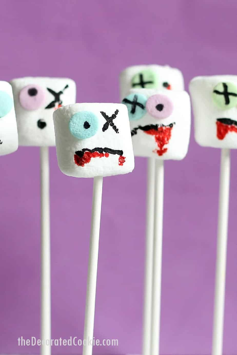 Chocolate covered marshmallows decorated like zombies