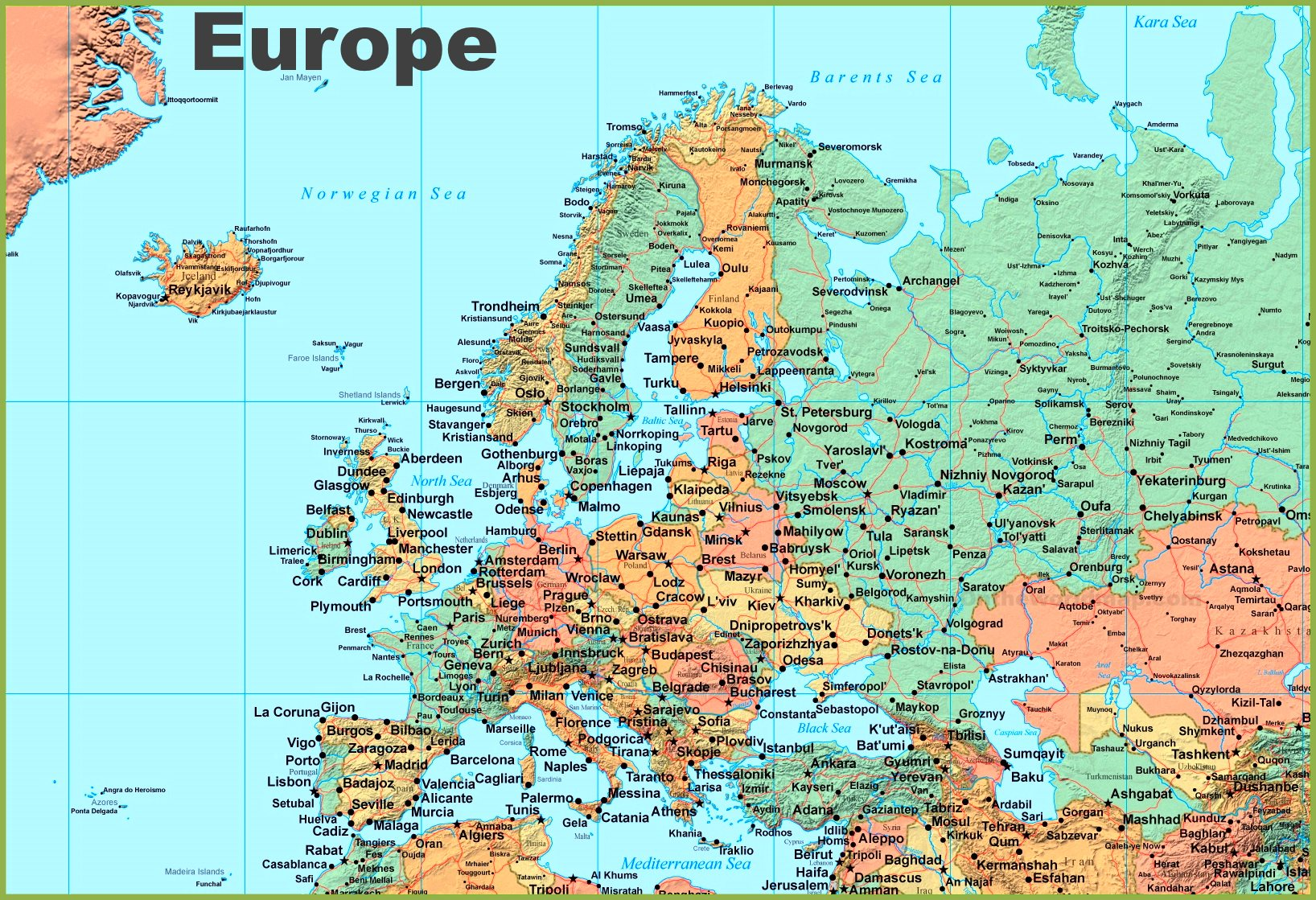 Map of Europe with cities            Map of Europe with cities