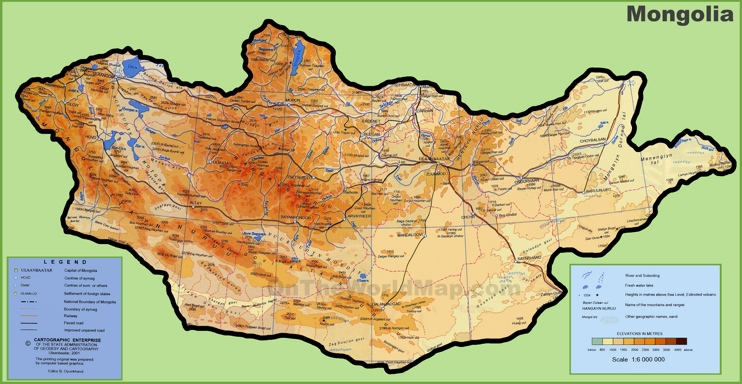 Physical Map Mongolia