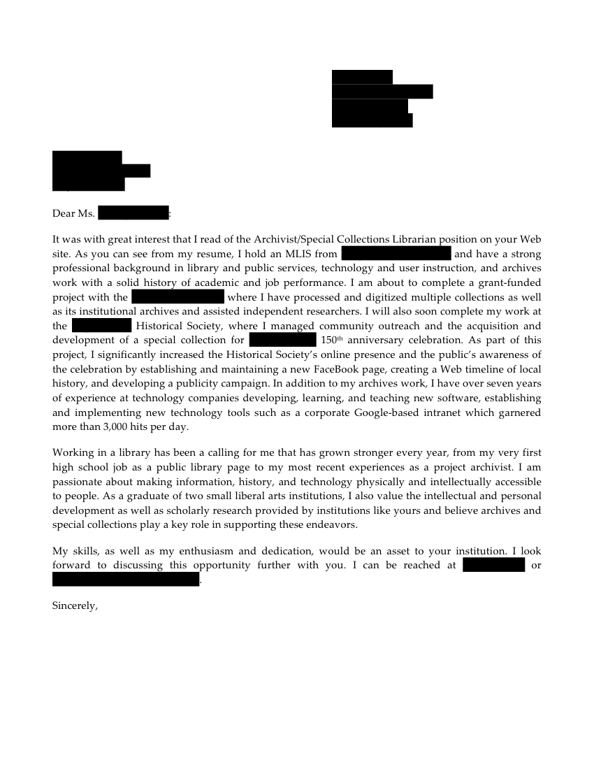 Archivist Special Collections Librarian Cover Letter