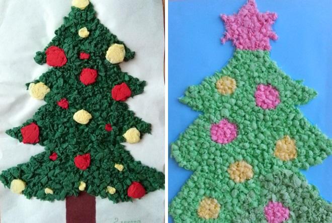 Apliques árboles de navidad de servilletas