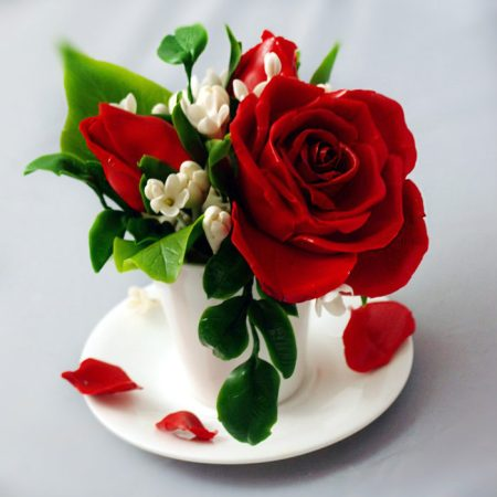 Red Rose Flower Arrangement   Handmade With Love   Oriflowers Red Rose Flower Arrangement