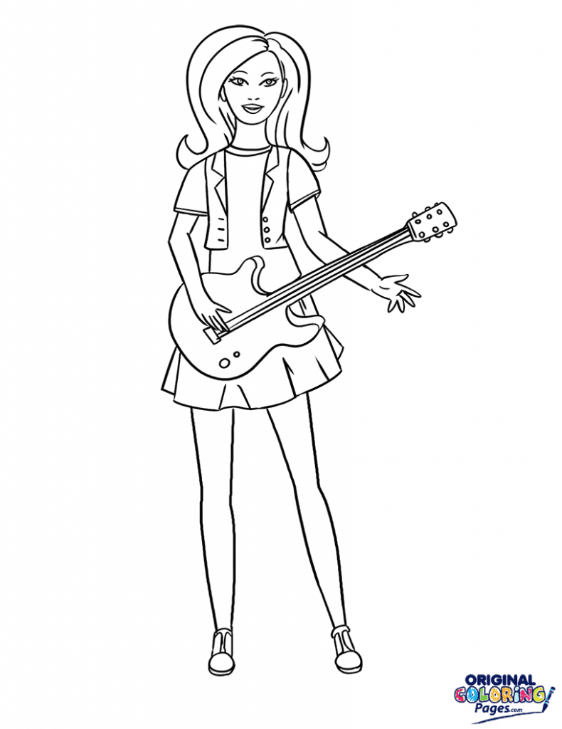 Barbie Rock Star Coloring Page Coloring Pages Original