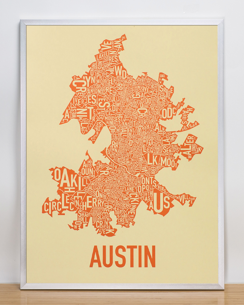 Austin Neighborhood Map 18  x 24  Orangeblooded Poster Framed Austin Neighborhood Map Poster  18  x 24   Tan   Orange in