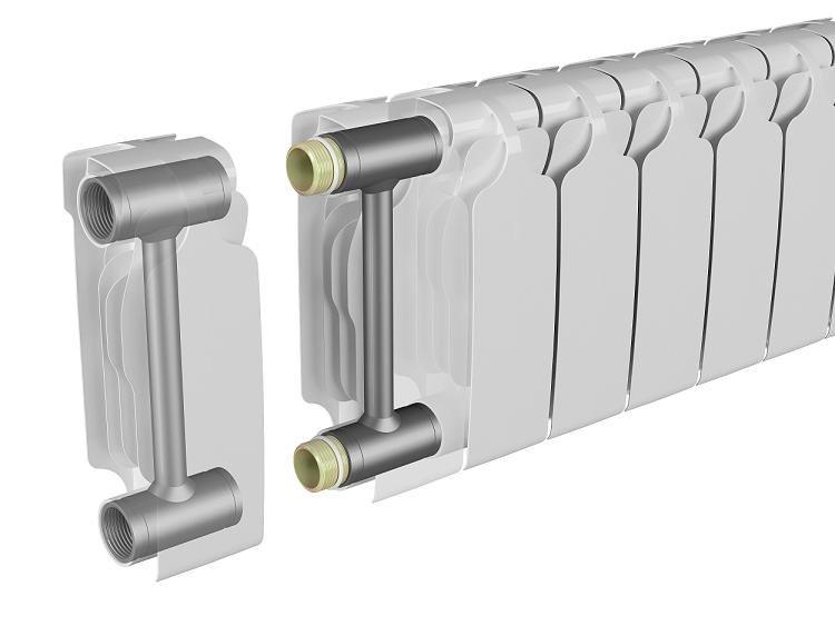 Принципиальная схема устройства биметаллического радиатора
