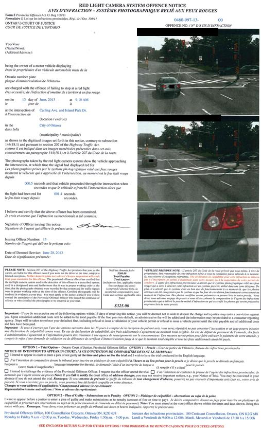Provincial Offences Act (POA) tickets, including red light ...