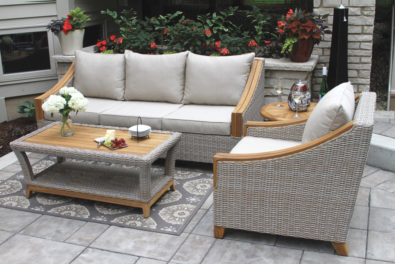 Teak   Wicker Furniture Collection from Outdoor Interiors TNA7000  Wicker   Natural Teak Sofa with Sunbrella Cushions   Pillows