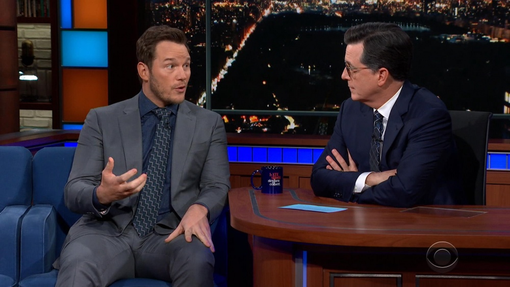 Chris Pratt no The Late Show com Stephen Colbert