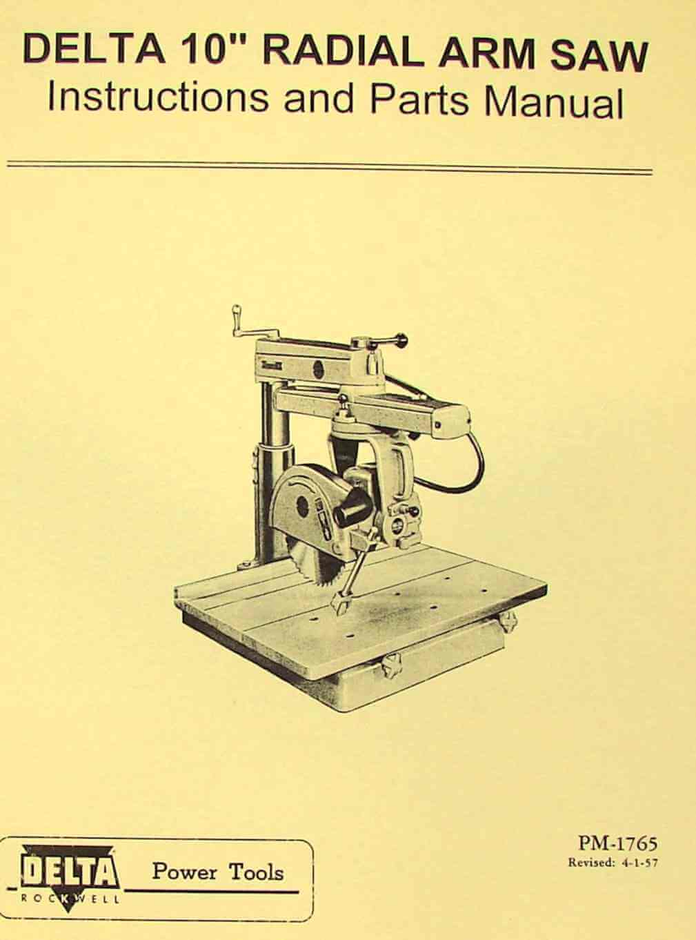 Delta Rockwell Radial Arm Saw 40 B Operator Amp Parts Manual