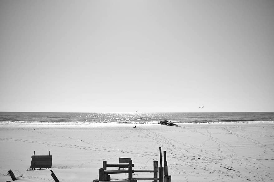 Beach Banister Long Island Sand Sky New York Black And White | Black And White Banister | Round | Deck | Light Wood Banister | Light Grey Grey White | Wrought Iron
