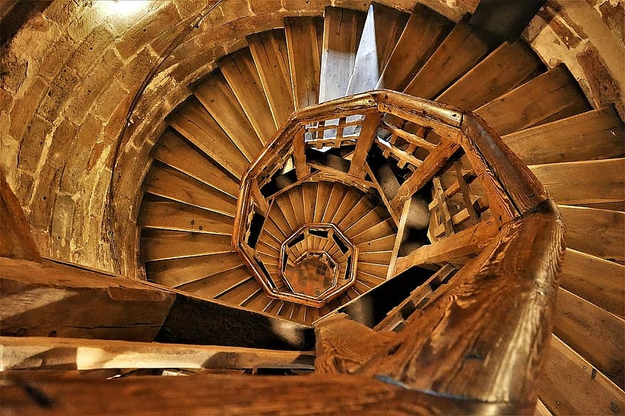 Spiral Staircase Wood Emergence Building Tower Stairs Spiral | Building A Spiral Staircase | Wood | Playground | Design | Rectangular | Attic