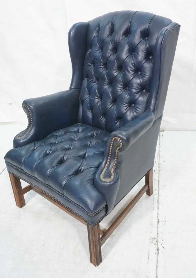 Navy Blue Wing Chair