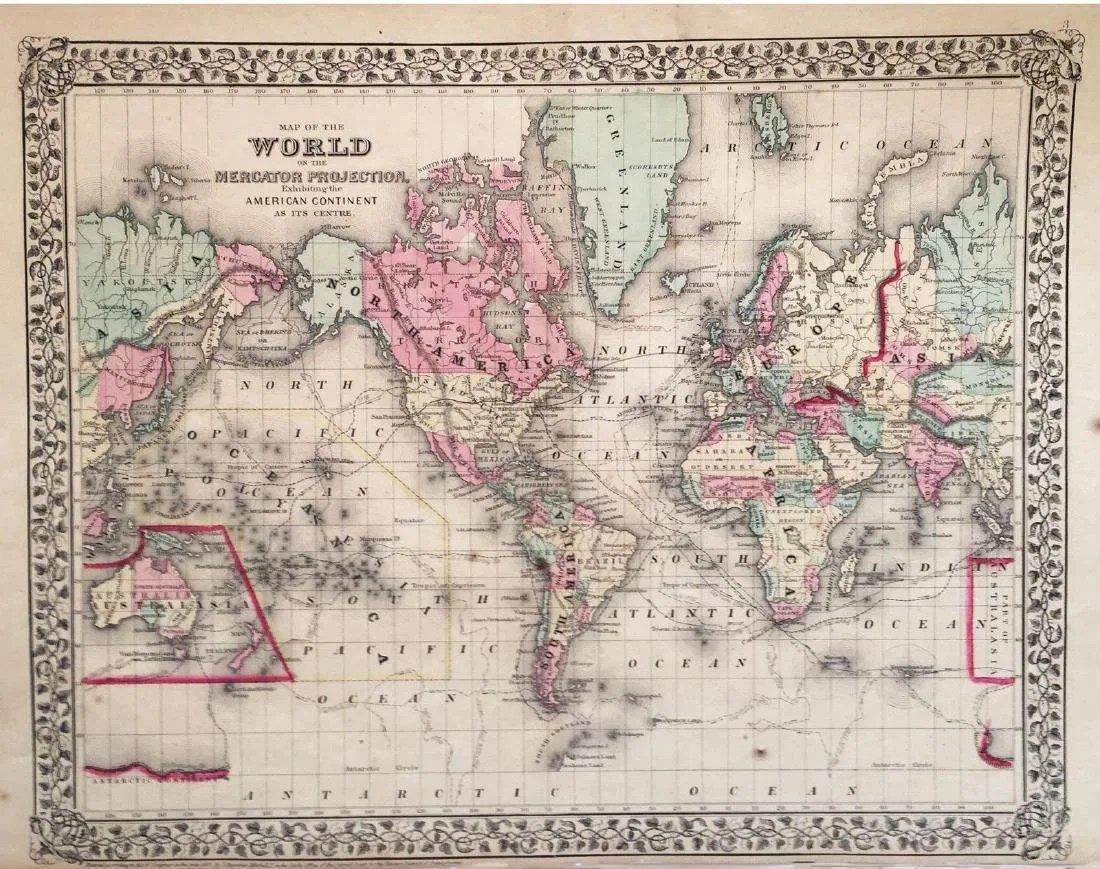Mitchell  Mercator Projection Antique World Map  1867