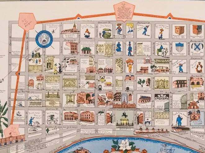 HD Decor Images » Myra Z Barnes  Vintage Map French Quarter  New Orleans