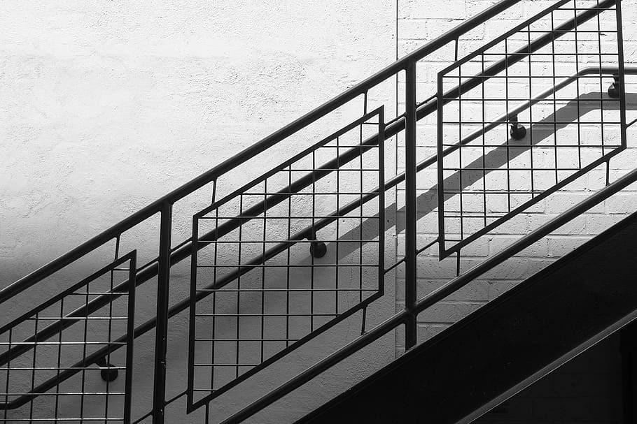 Black Metal Rail Stairway Banister Rail Staircase Stair | Black Metal Railing For Stairs | Traditional | Low Cost | Cast Iron | Horizontal | Black Wire