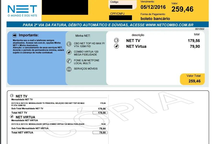 Faça o pagamento da segunda via de serviços NET