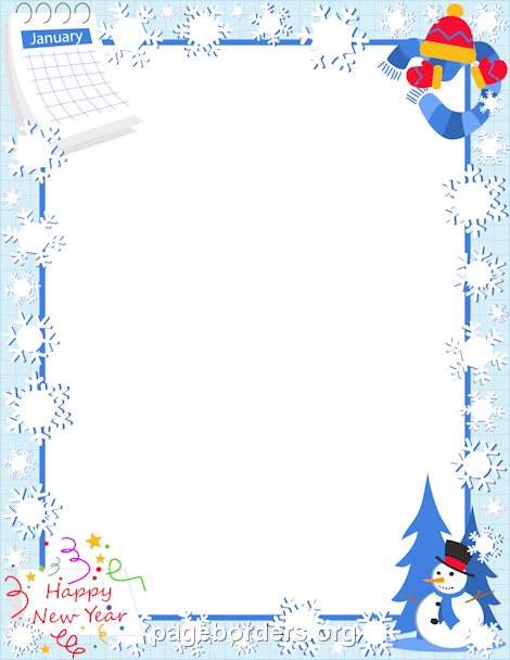 month of january clip art border