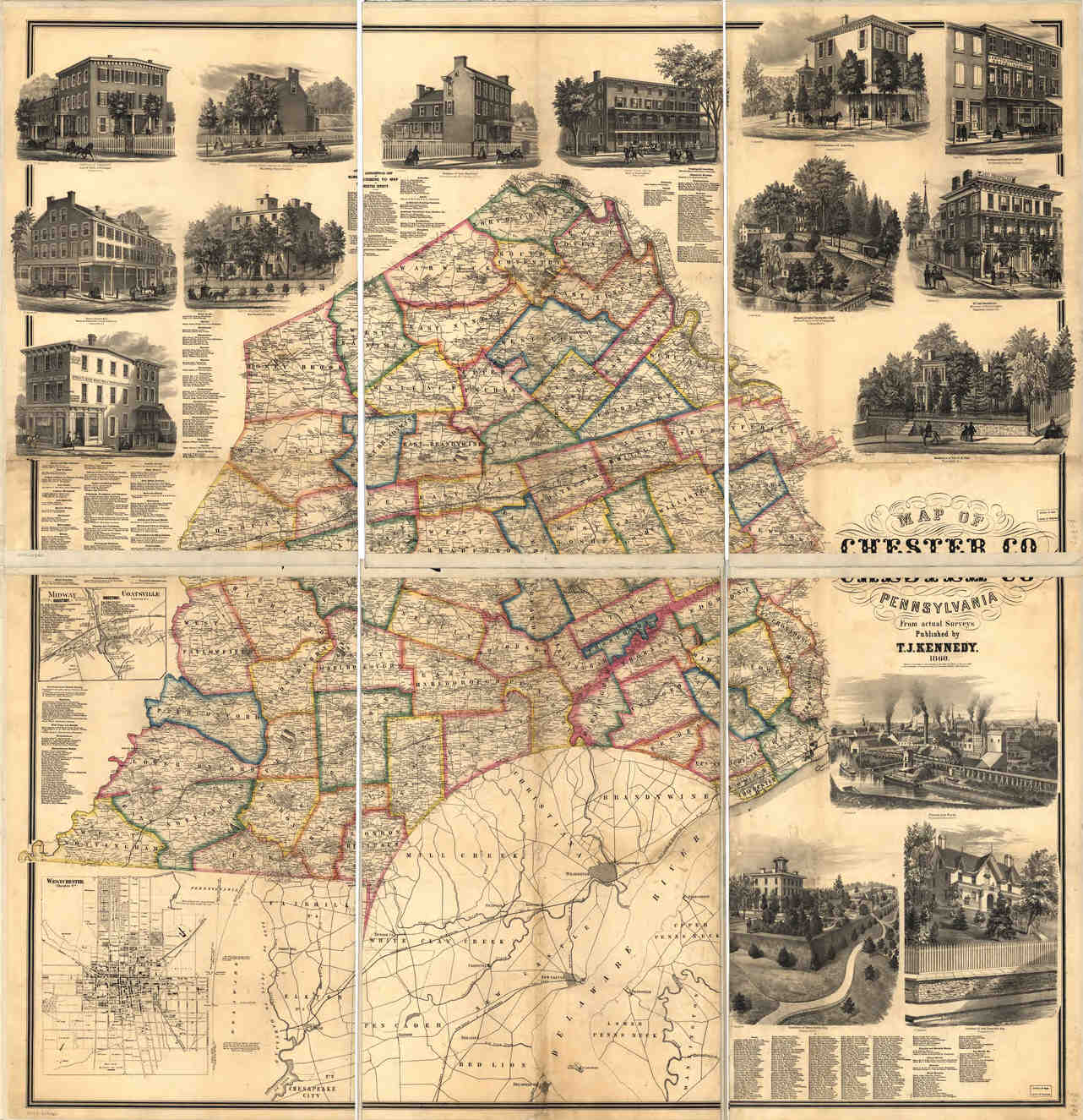 PAgenealogy net   Pennsylvania Historical Maps Chester County   Map of Chester Co  Pennsylvania  from Actual Surveys   Published by T J  Kennedy  1860  222kb