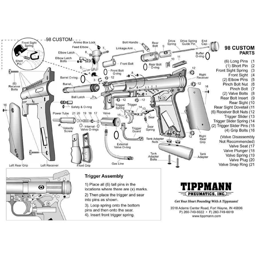 Tippmann 98 Custom Parts Diagram Platinum Series Act Gun
