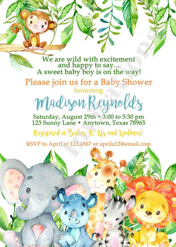 Image of: Paintings 570x798 Baby Shower Invitation Wording Unique Custom Printed Jungle Safari Watercolor Painting Valley Safari Watercolor At Paintingvalleycom Explore Collection Of