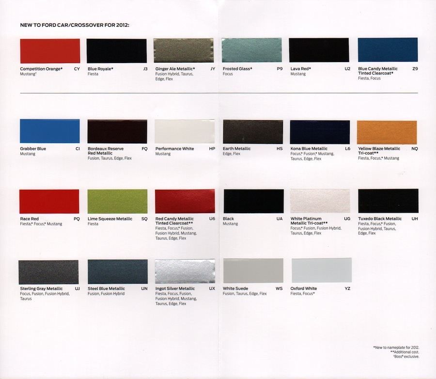 2004 Truck Color Chart Ford