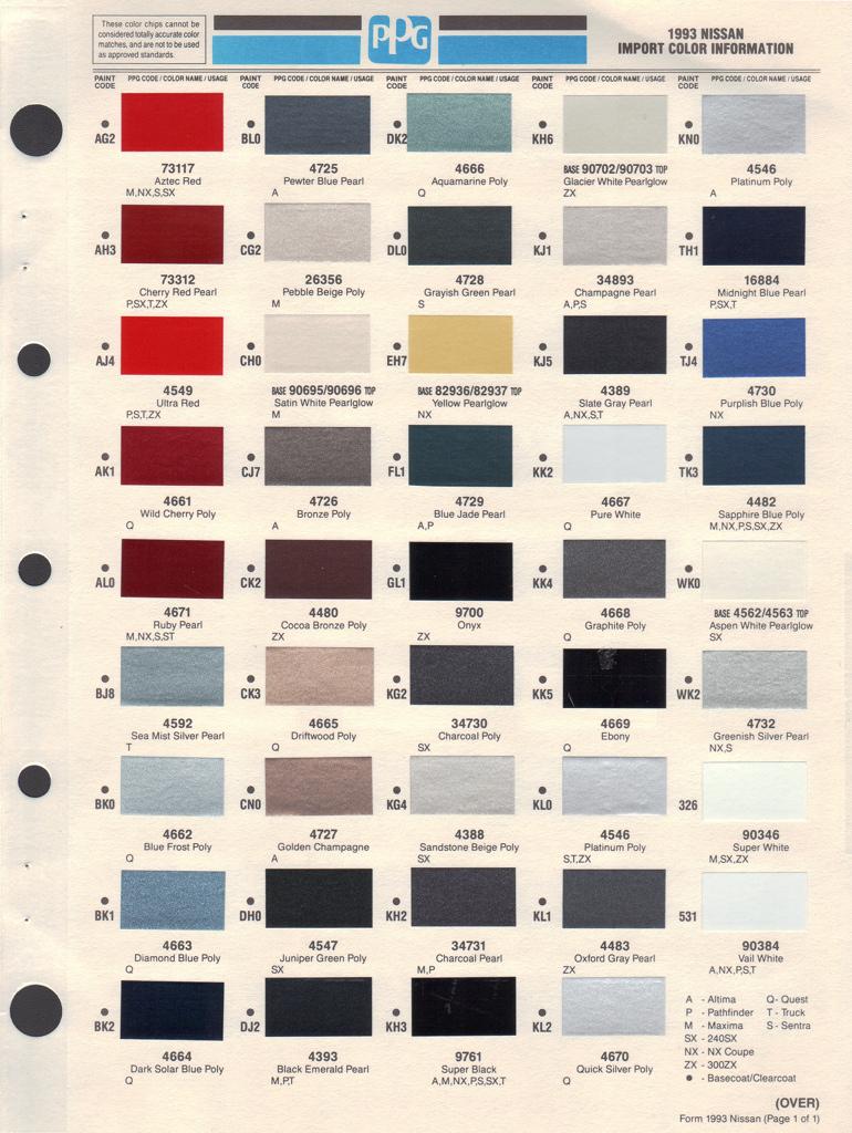 Nissan Paint Color Chart
