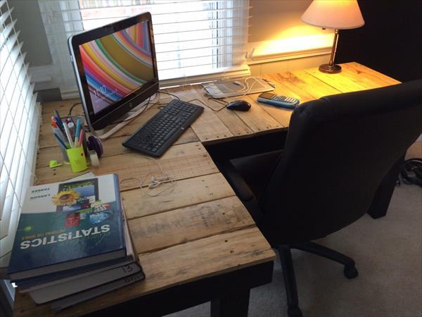 Diy Pallet L Shaped Computer Desk Pallet Furniture Plans