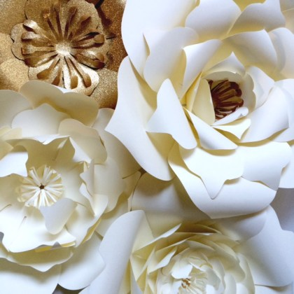 Large Paper Flowers for events  backdrops or home decor   PaperFlora Ivory and Gold Large Paper Flowers