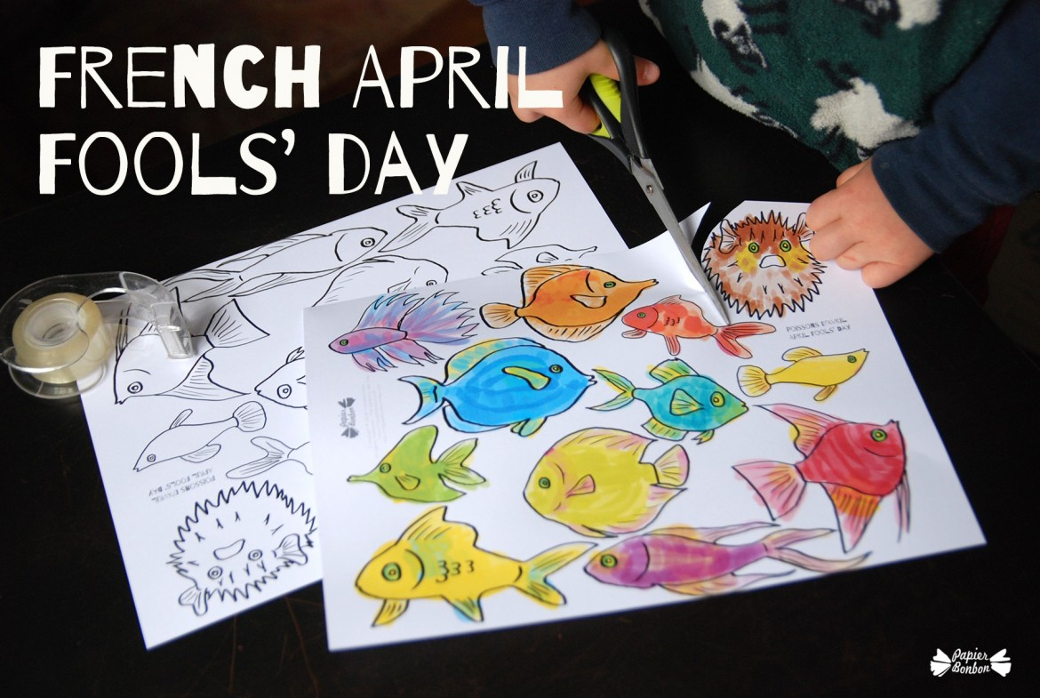 French april fools day tricky fishes papier bonbon, fun coloring pages