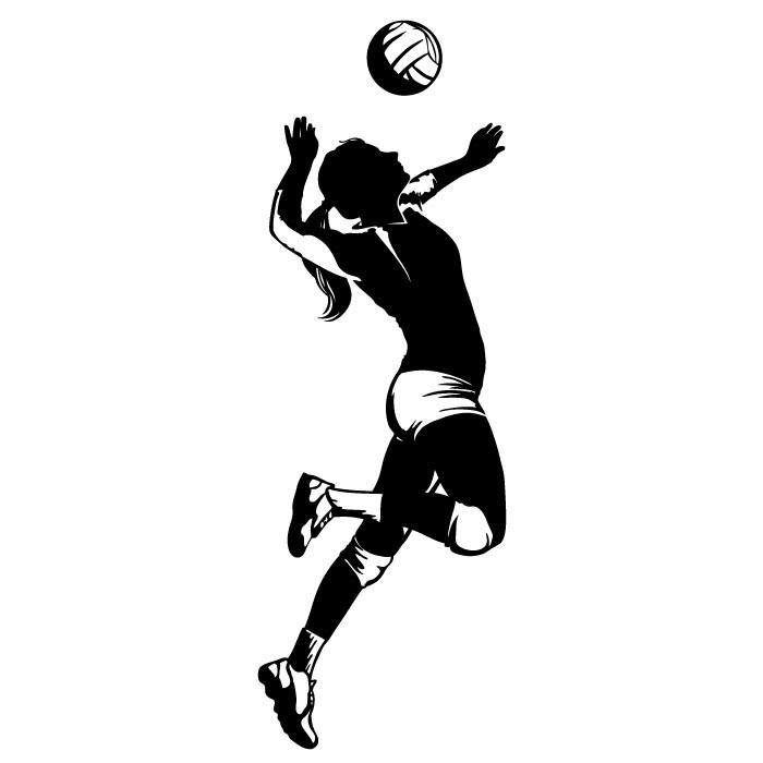 Girl Volleyball Hitter Silhouettes