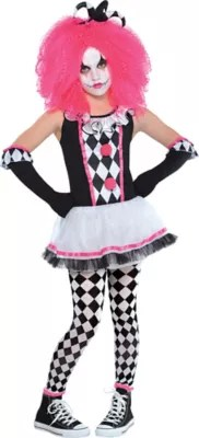 White And Costumes Girls Clown Black